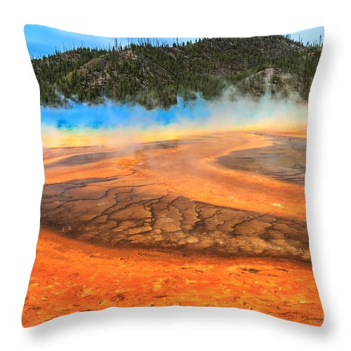 Grand Prismatic Spring Throw Pillow featuring the photograph Grand Prismatic Shores by Sylvia J Zarco