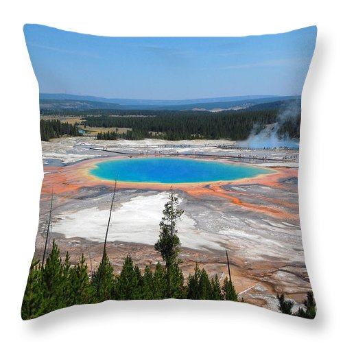 Yellowstone National Park Throw Pillow featuring the photograph Grand Prismatic Spring From Above by Debra Thompson
