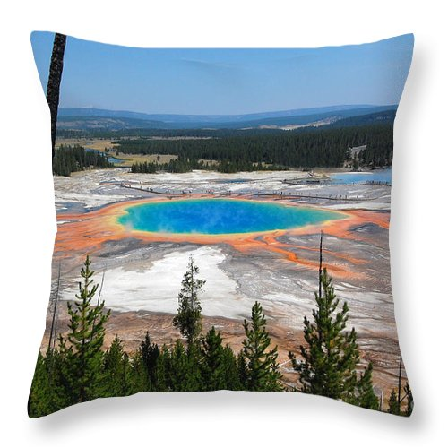 Yellowstone National Park Throw Pillow featuring the photograph Grand Prismatic Spring From Hillside by Debra Thompson