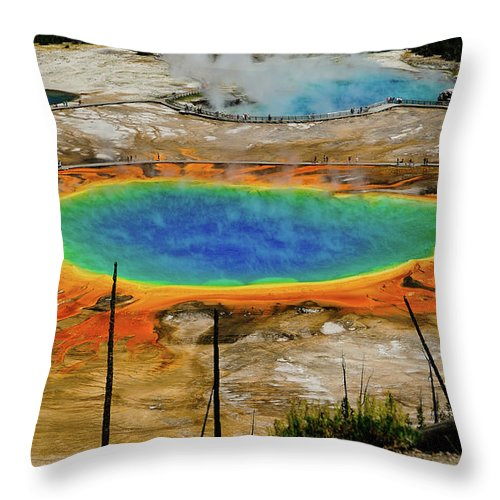 Yellowstone Throw Pillow featuring the photograph Grand Prismatic Spring No Border by Greg Norrell