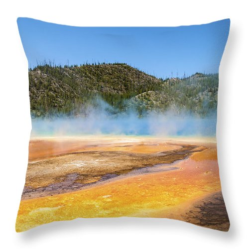 Grand Prismatic Spring Midway Yellowstone National Park Wyoming Mountain Landscape Throw Pillow featuring the photograph Grand Prismatic Spring - Yellowstone National Park by Brian Harig
