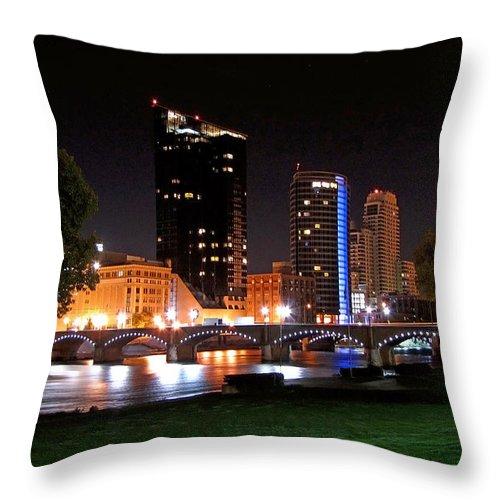 Grand Rapids Throw Pillow featuring the digital art Grand Rapids Michigan At Dusk by Debra Miller