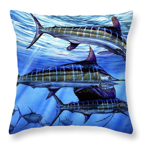 Blue Mrlin Throw Pillow featuring the painting Grand Slam Lure And Tuna by Terry Fox