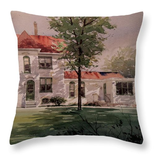 Landscapes Throw Pillow featuring the painting Grand Traverse Lighthouse by Jon Hunter