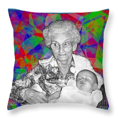Portrait Throw Pillow featuring the photograph Grandma And Rose by Joan Minchak