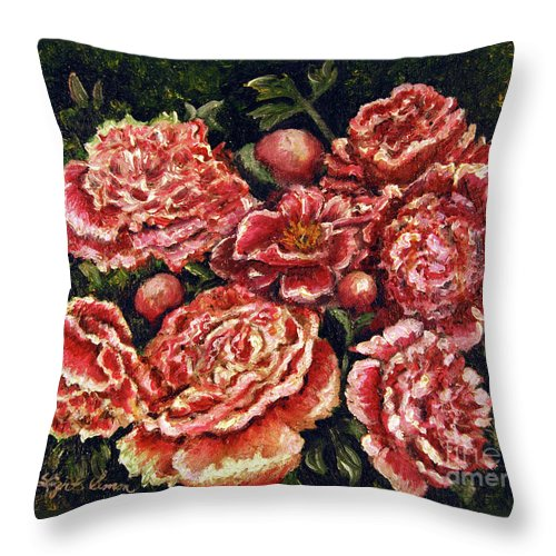 Pink Throw Pillow featuring the painting Grandma Lights Peonies by Linda Simon