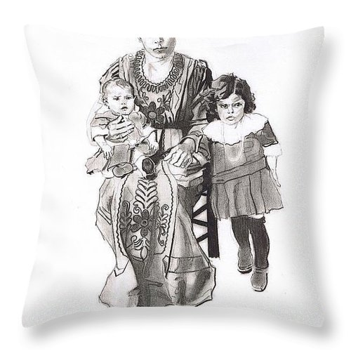 Sicily;italy;america;ellis Island;mother;daughter;family;siblings;grandmother;family;child;children;baby;eyes;concern;dress;clothing;seated Throw Pillow featuring the drawing Grandma's Family by Sean Connolly