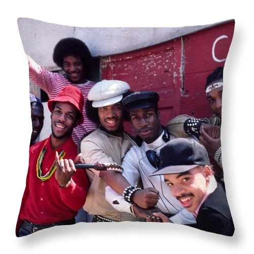 The Message Throw Pillow featuring the photograph Grandmaster Flash And Furious Five In Nyc by Hemu Aggarwal