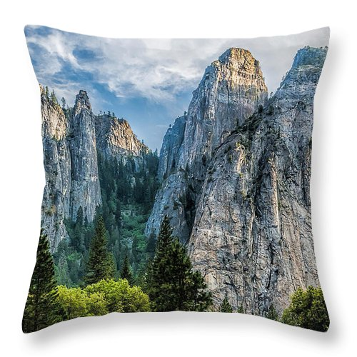 Yosemite National Park Throw Pillow featuring the photograph Sentinels by Maria Coulson