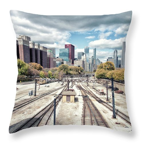 Tranquility Throw Pillow featuring the photograph Grant Park Railroad Tracks by Photographer Who Enjoys Experimenting With Various Styles.