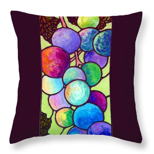 Stained Glass Throw Pillow featuring the painting Grape De Chine by Sandi Whetzel