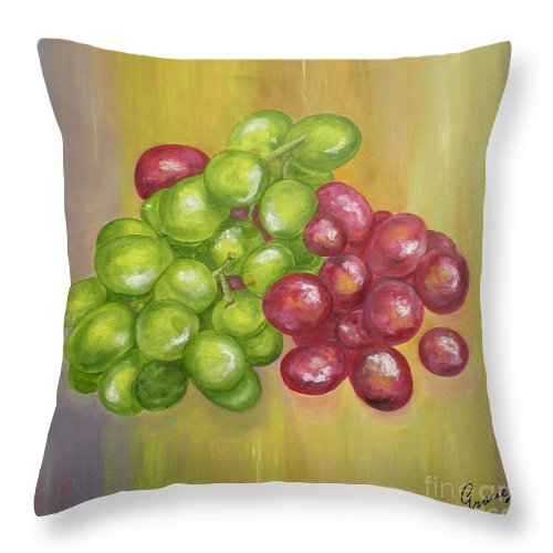 Grapes Throw Pillow featuring the painting Grapes by Graciela Castro