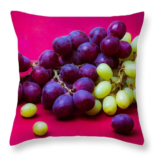 Vine Throw Pillow featuring the photograph Grapes White And Red by Alexander Senin
