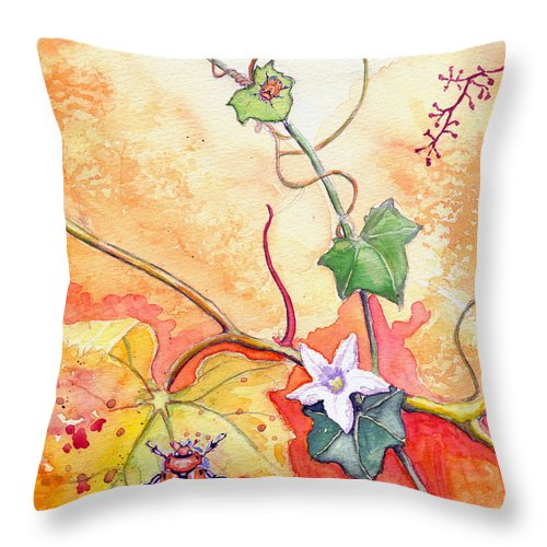 Grapevine Beetle Throw Pillow featuring the painting Grapevine Beetle by Katherine Miller