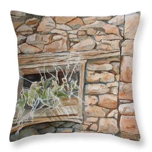 Wall Throw Pillow featuring the painting Grass In The Window by Jenny Armitage