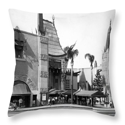 1940's Throw Pillow featuring the photograph Grauman's Chinese Theater by Underwood Archives
