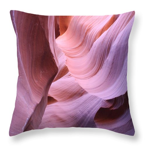 Narrow Canyon Throw Pillow featuring the photograph Graved Sandstone Of Antelope Canyon by Christiane Schulze Art And Photography