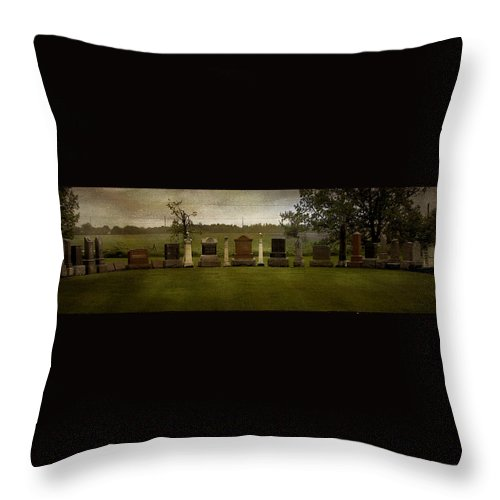 Graveyard Throw Pillow featuring the photograph Graveyard Landscape Photograph by Laura Carter