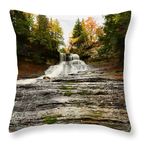 Laughing Whitefish Falls Throw Pillow featuring the photograph Laughing Whitefish Falls by Michael Tucker