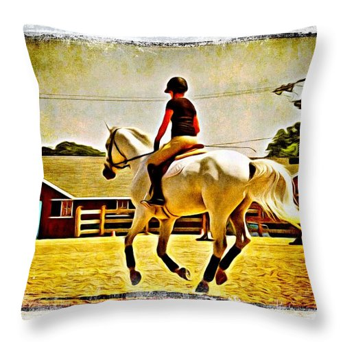 Horse Show Throw Pillow featuring the photograph Gray In Air by Alice Gipson
