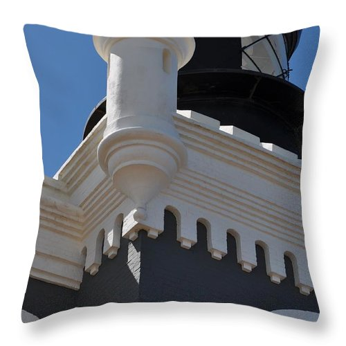 Lighthouse Throw Pillow featuring the photograph Gray Lighthouse by Kimbrella Studio