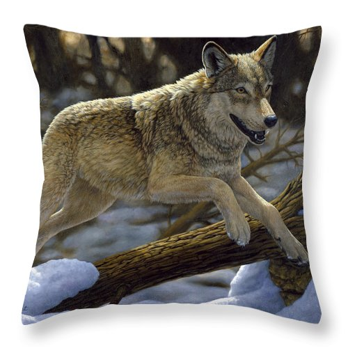 Wolf Throw Pillow featuring the painting Gray Wolf - Just For Fun by Crista Forest