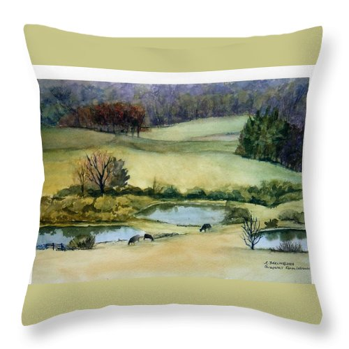 Watercolor Throw Pillow featuring the painting Graywall Farm by Katherine Berlin