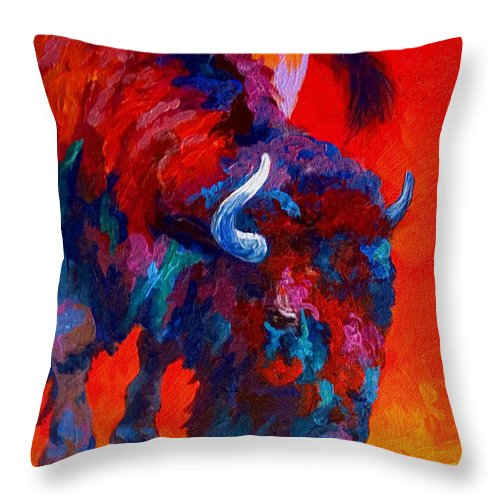 Bison Throw Pillow featuring the painting Grazing Bison by Marion Rose
