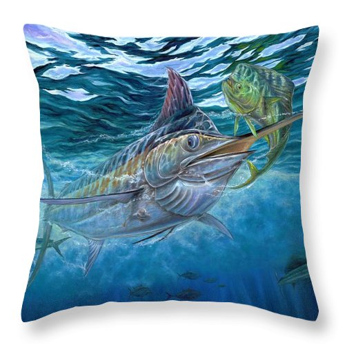 Blue Marlin Throw Pillow featuring the painting Great Blue And Mahi Mahi Underwater by Terry Fox