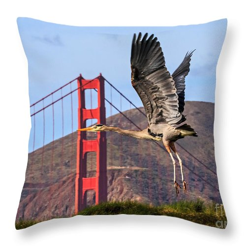 Kate Brown Throw Pillow featuring the photograph Great Blue At The Golden Gate by Kate Brown