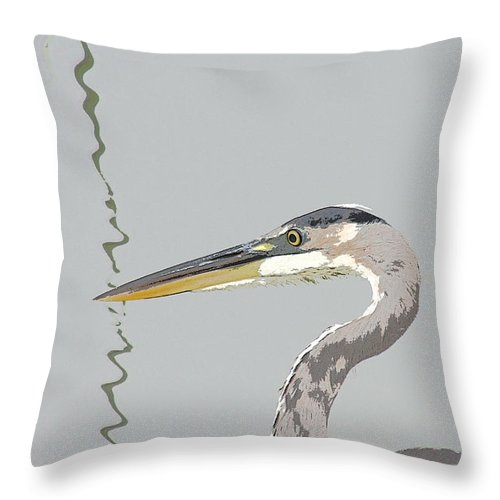 Heron Throw Pillow featuring the photograph Great Blue Heron And Rushes by Bob and Jan Shriner