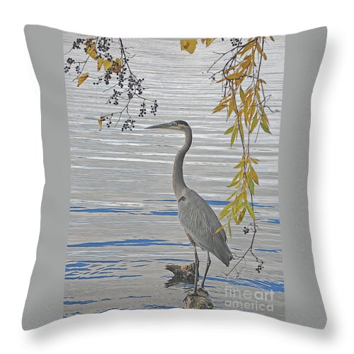 Heron Throw Pillow featuring the photograph Great Blue Heron by Ann Horn
