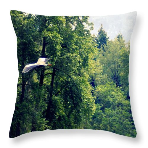 Great Blue Heron Throw Pillow featuring the photograph Great Blue Heron Flying Past The Trees Above Trojan Pond 2 by Dawna Morton