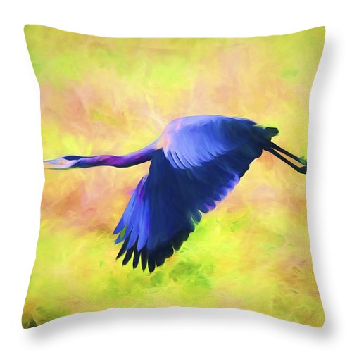 Great Blue Heron Throw Pillow featuring the mixed media Great Blue Heron In Flight Art by Priya Ghose