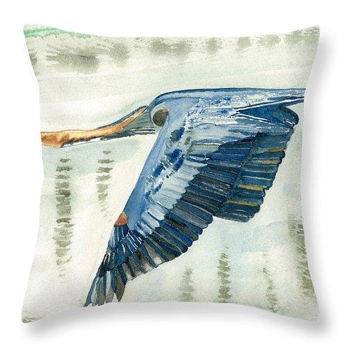 Wildlife Throw Pillow featuring the painting Great Blue Heron by Miriam Kalliomaki