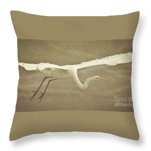 Egret Throw Pillow featuring the photograph Great Egret In Flight by Pam Holdsworth