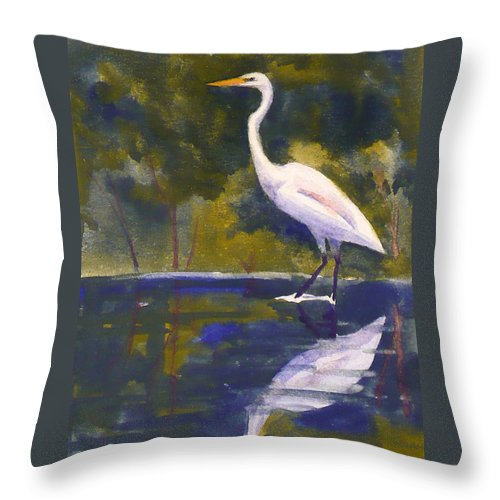 Bird Throw Pillow featuring the painting Great Egret by Janet Zeh