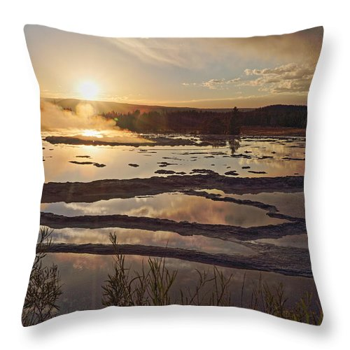 Yellowstone Throw Pillow featuring the photograph Great Fountain Geyser by April Copeland