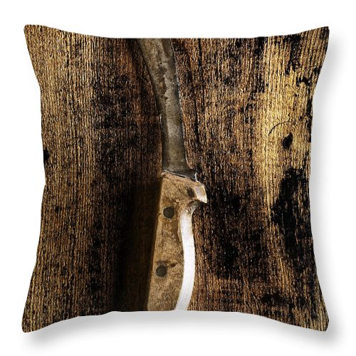 Knife; Dark; Eerie; Foreboding; Horror; Horrific; Ominous; Mystery; Mysterious; Sinister; Blade; Long; Murder; Drama; Dramatic; Looming; Spooky; Violence; Violent; One; Long; Sharp; Weapon; Rusty; Old; Vintage Throw Pillow featuring the photograph Great Grandpa's Knife by Margie Hurwich