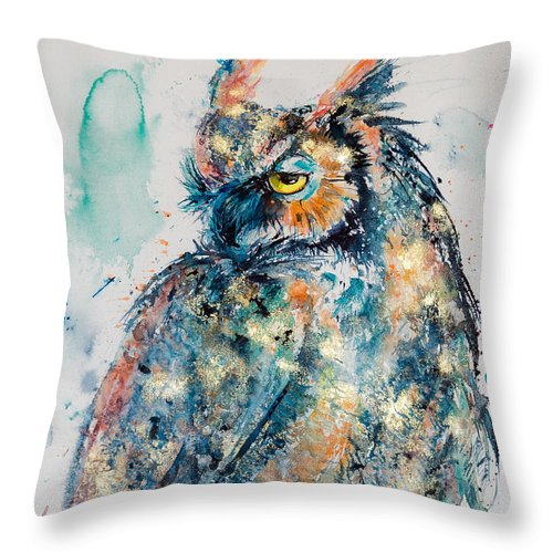 Great Horned Owl Throw Pillow featuring the painting Great Horned Owl In Gold by Kovacs Anna Brigitta