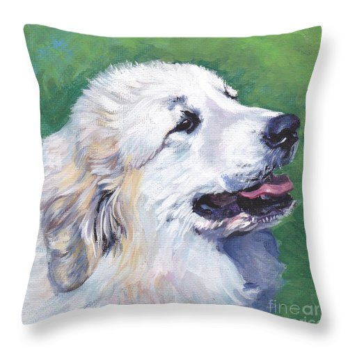 Great Pyrenees Throw Pillow featuring the painting Great Pyrenees by Lee Ann Shepard