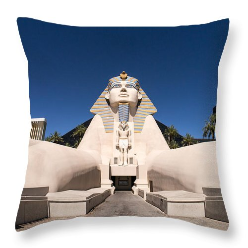 Las Vegas Nevada Trip Destination Travel Hotel Strip Throw Pillow featuring the photograph Great Sphinx Of Giza Luxor Resort Las Vegas by Edward Fielding