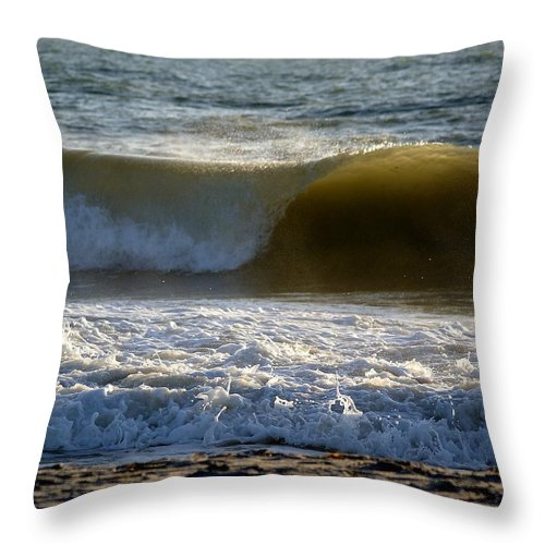 Scenic Throw Pillow featuring the photograph Great Wave Action by Patricia Twardzik