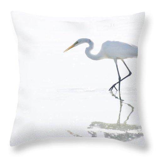 Great Egret Throw Pillow featuring the photograph Great White Egret Reflection by Saija Lehtonen
