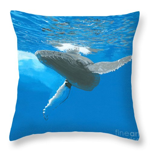 Whale Throw Pillow featuring the painting Great Wings Of New England by Robert Timmons