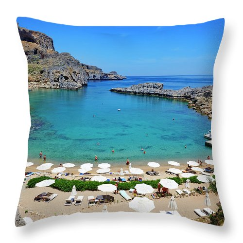 Scenics Throw Pillow featuring the photograph Greece, Dodecanese, Rhodes, Lindos, St by Tuul & Bruno Morandi