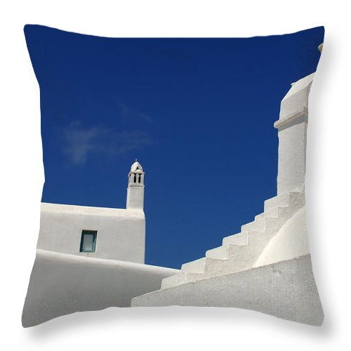 Greece Throw Pillow featuring the photograph Greek Architecture Mykonos 4 by Bob Christopher
