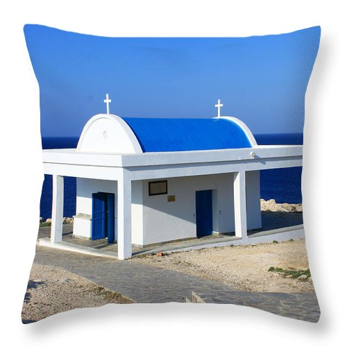 Augusta Stylianou Throw Pillow featuring the photograph Greek Chapel Near The Sea by Augusta Stylianou