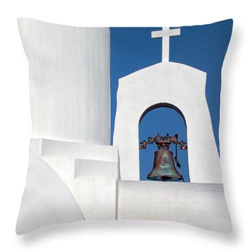 Aegean Throw Pillow featuring the photograph Greek Island Church by Stelios Kleanthous