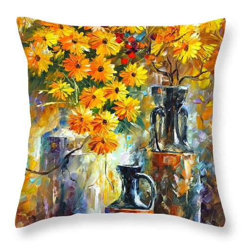 Afremov Throw Pillow featuring the painting Greek Vases by Leonid Afremov